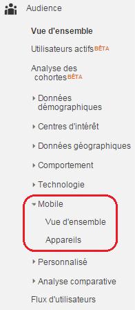 Audience mobile sur Google Analytics